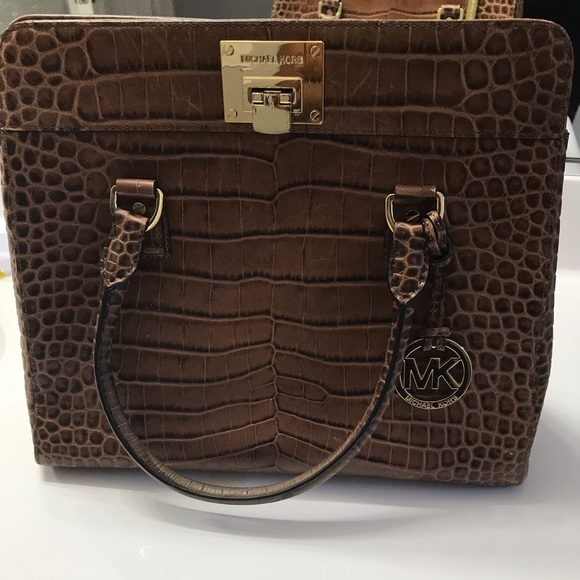 MICHAEL Michael Kors Handbags - Micheal Kors crocodile satchel brown walnut